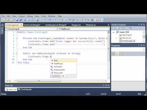 Visual Basic Tutorial - 156 - Game Part 12   Creating The Event Log