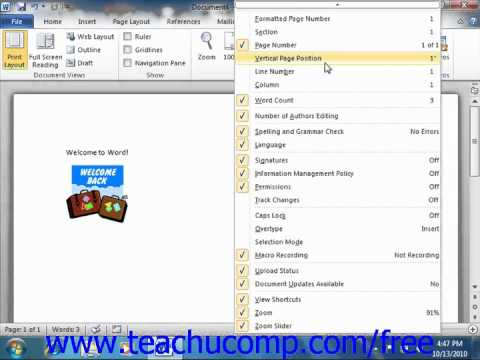Word 2010 Tutorial The Status Bar Microsoft Training Lesson 1.13