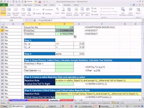 Excel 2010 Statistics 86: Hypothesis Test for Proportions using p-value or Critical Value