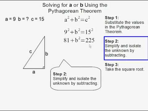 Solving for a or b using the Pythagorean Theorem