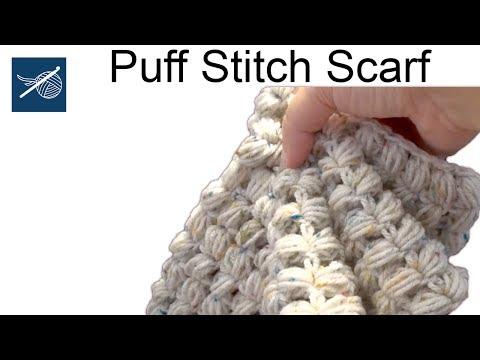 Left Hand Puff Stitch Crochet Scarf