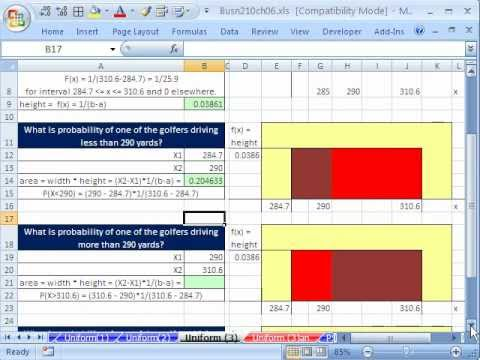 Excel 2010 Statistics 55: Uniform Probability Distributions