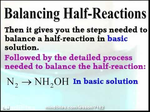 Balancing Oxidation and Reduction Half-Reactions
