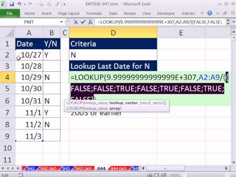 "Excel Magic Trick 844: Last Date In Column A For ""N"" In Column B"