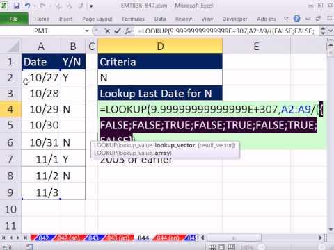 "Excel Magic Trick 844: Last Date In Column A For ""N"" In Column B"