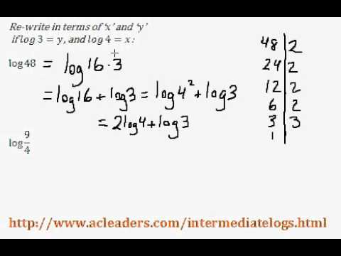 Re-writing expressions with Logarithms - (intermediate log questions pt. 4 of 6)