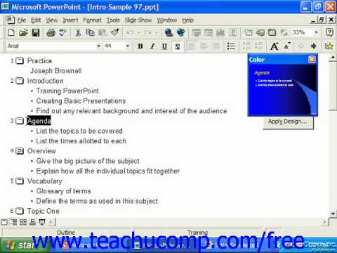 PowerPoint 2003 Tutorial Outline View Microsoft Training Lesson 4.2