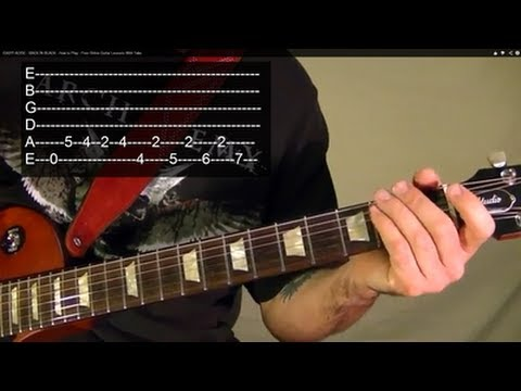 BACK IN BLACK ( Guitar Lesson ) by AC/DC WITH TABS
