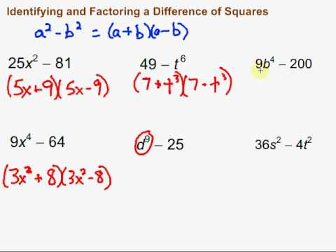 Identifying and Factoring a Difference of Squares