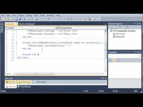 Visual Basic Tutorial - 180 - FTP Downloader Part 3   Showing The Files In The Home Directory