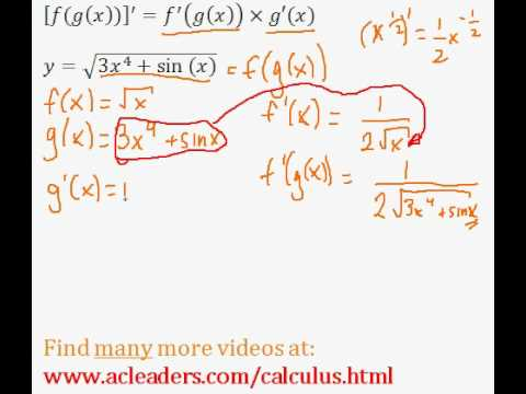 Calculus - CHAIN RULE - finding the derivative (pt.6)