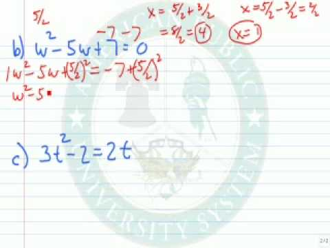 Solve a Quadratic eq by Completing the sq