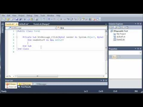 Visual Basic Tutorial - 100 - Introduction To IDisposable