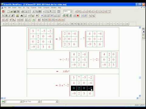 determinant calculation: 4x4 example