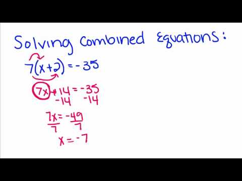 Algebra Tutorial - 7 - Solving Combined Equations