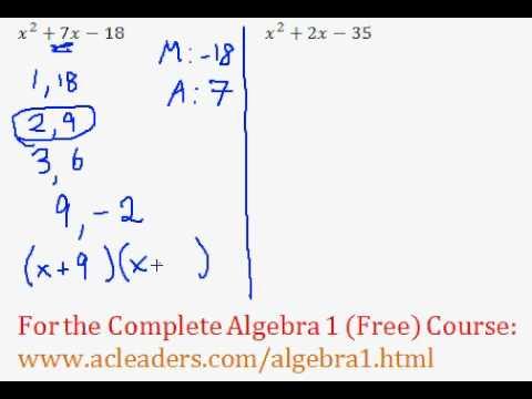 (Algebra 1) Polynomials - Factoring Trinomials Questions #5-6