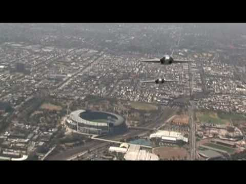RAAF - F/A-18 Hornets flying over Melbourne