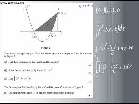 C2 Integration exam question (trapped areas)