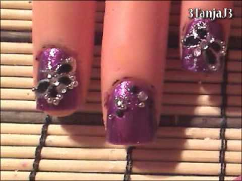 *Dark Butterfly Nail Art Design* - Short Nails