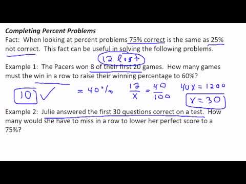 Completing Percent Problems