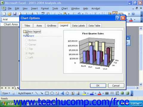 Excel 2003 Tutorial Repositioning the Legend Microsoft Training Lesson 22.4