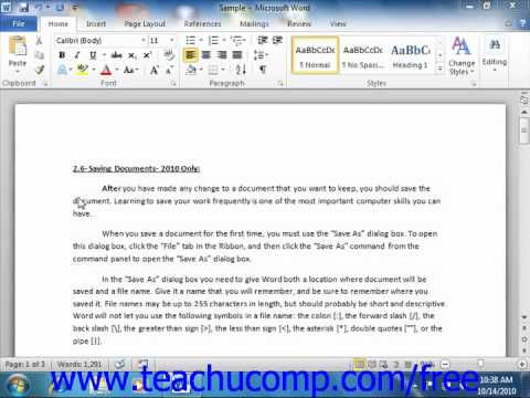 Word 2010 Tutorial Non-Printing Characters Microsoft Training Lesson 2.11