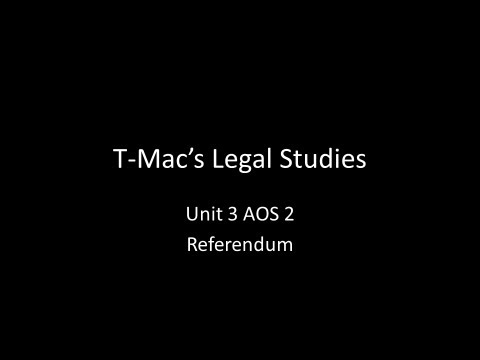 VCE Legal Studies - Unit 3 AOS2A - Constitution - Referendum