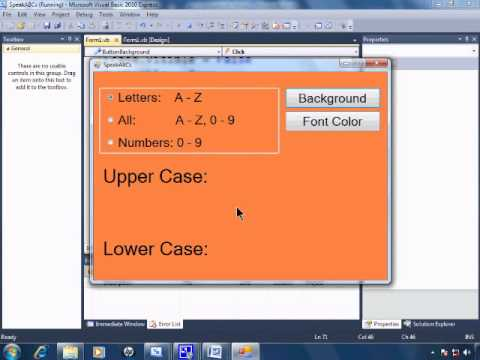 Visual Basic 2010 Express Tutorial 20 ColorDialog - Changing Background & Font Color -SpeakABCs 4/11