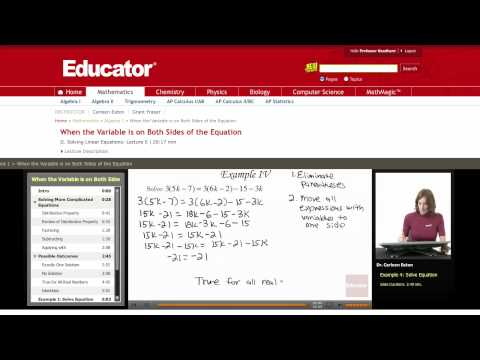 Algebra: Variable on Both Sides of the Equation