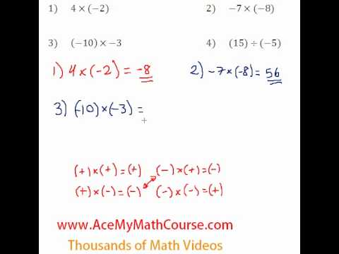 Basic Algebra Review - Multiplying & Dividing Integers #3