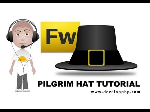 Fireworks CS5 Vector Pilgrim Hat Graphics Tutorial Pumpkin Thanksgiving Scene