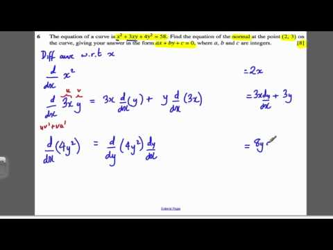 Core 4 OCR June 2007 Q6 - Implicit Differentiation (1)