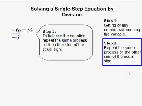 Solving a Single Step Equation by Division