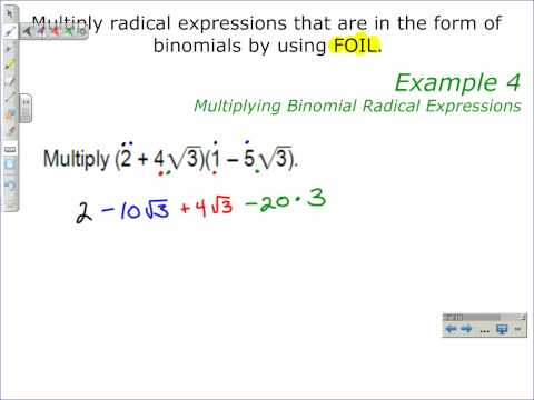 Multiplying Binomial Radical Expressions