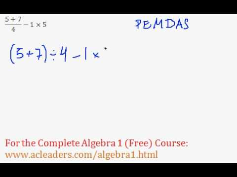 Order of Operations - Worked Example #10 (Basic Algebra Review)