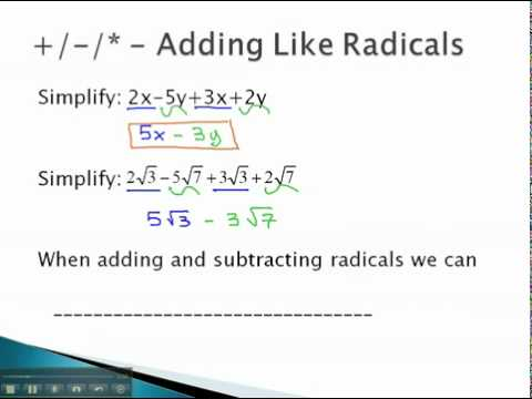 Add/Subtract/Multiply - Adding Like Radicals