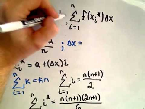 Saylor MA101: Calculating a Definite Integral Using Riemann Sums Part 1