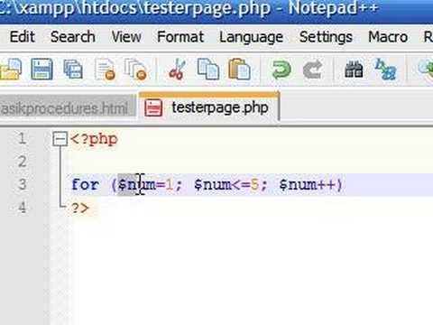 PHP Tutorial - 9 - For Loop