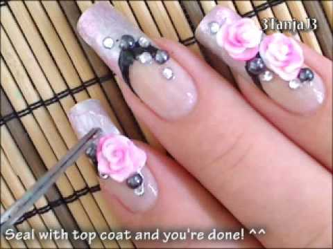 Valentine / Date: *Romantic Roses* 3D Acrylic Nail Art Design Tutorial