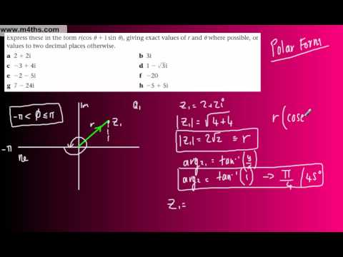 (18) FP1 Complex Numbers (Edexcel Further Pure Maths) - Polar Form r(cos0 + isin0) part 1