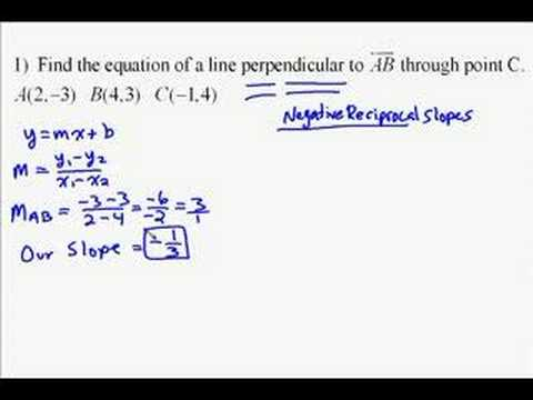 A15.14 Finding the equation of a perpendicular line