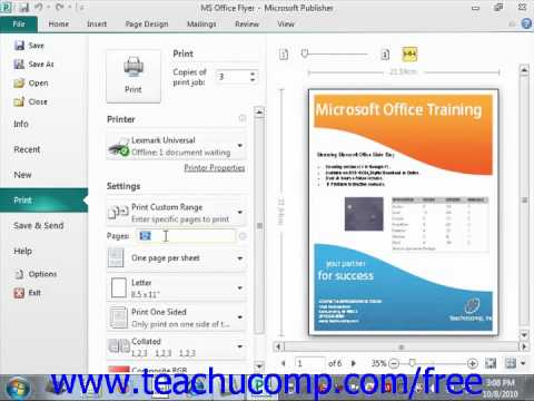 Publisher 2010 Tutorial Previewing and Printing Microsoft Training Lesson 11.1