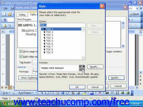 Word 2003 Tutorial Customizing a Table of Contents Microsoft Office Training Lesson 26.2