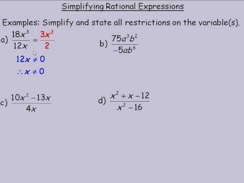 Simplifying Rational Expressions Part 1