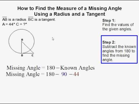 How to Find the Measure of a Missing Angle in a Triangle Using the Radius and Tangent