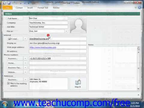 Outlook 2010 Tutorial Mapping a Contact's Address Microsoft Training Lesson 2.10