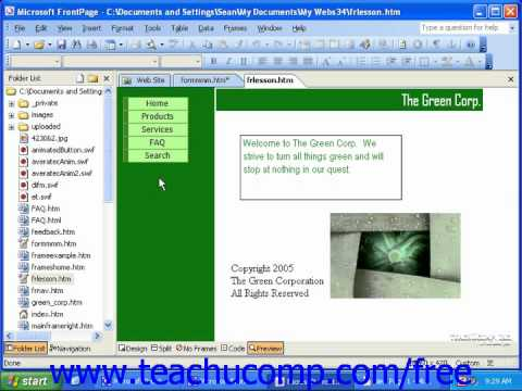 FrontPage Tutorial The Basics of Components Microsoft Training Lesson 17.1