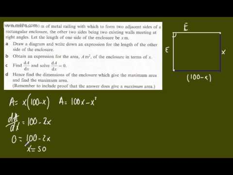 (j) Optimisation Core 2 Example 10 (basic exam question) C2 differentiation