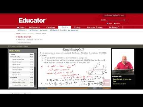 Physics: Fluid Statics (Pool Water Pressure)