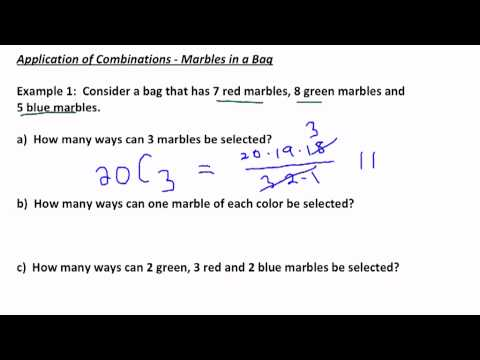 Application of Combinations - Marbles in a Bag